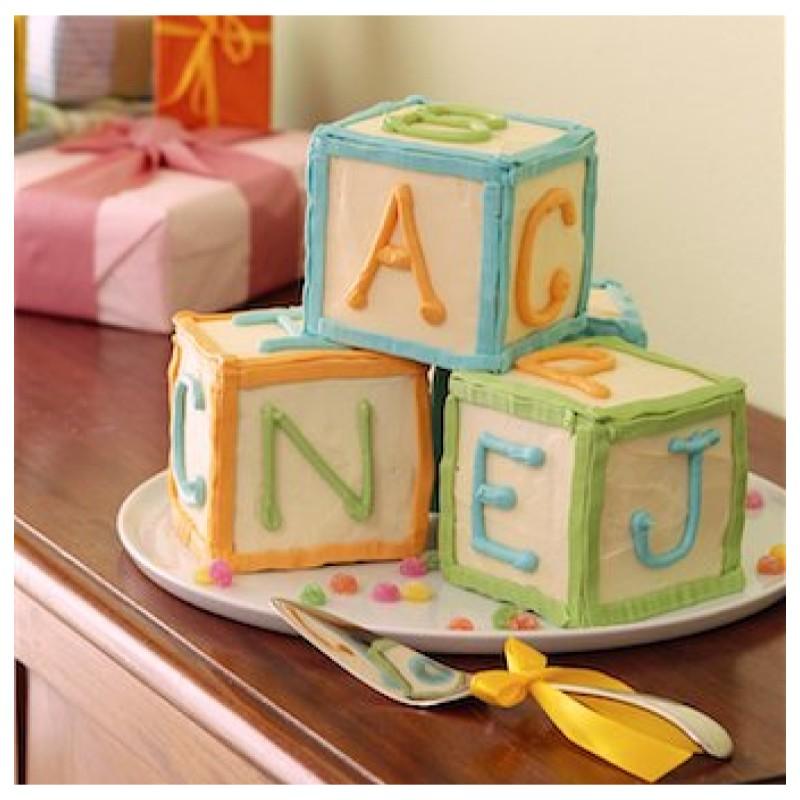 Letter block baby cake